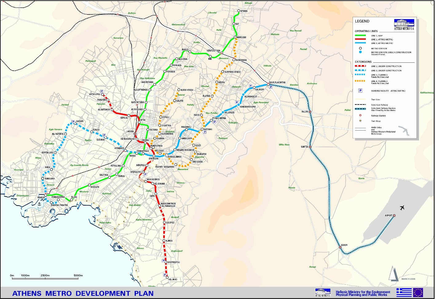 Схема метро в Афинах