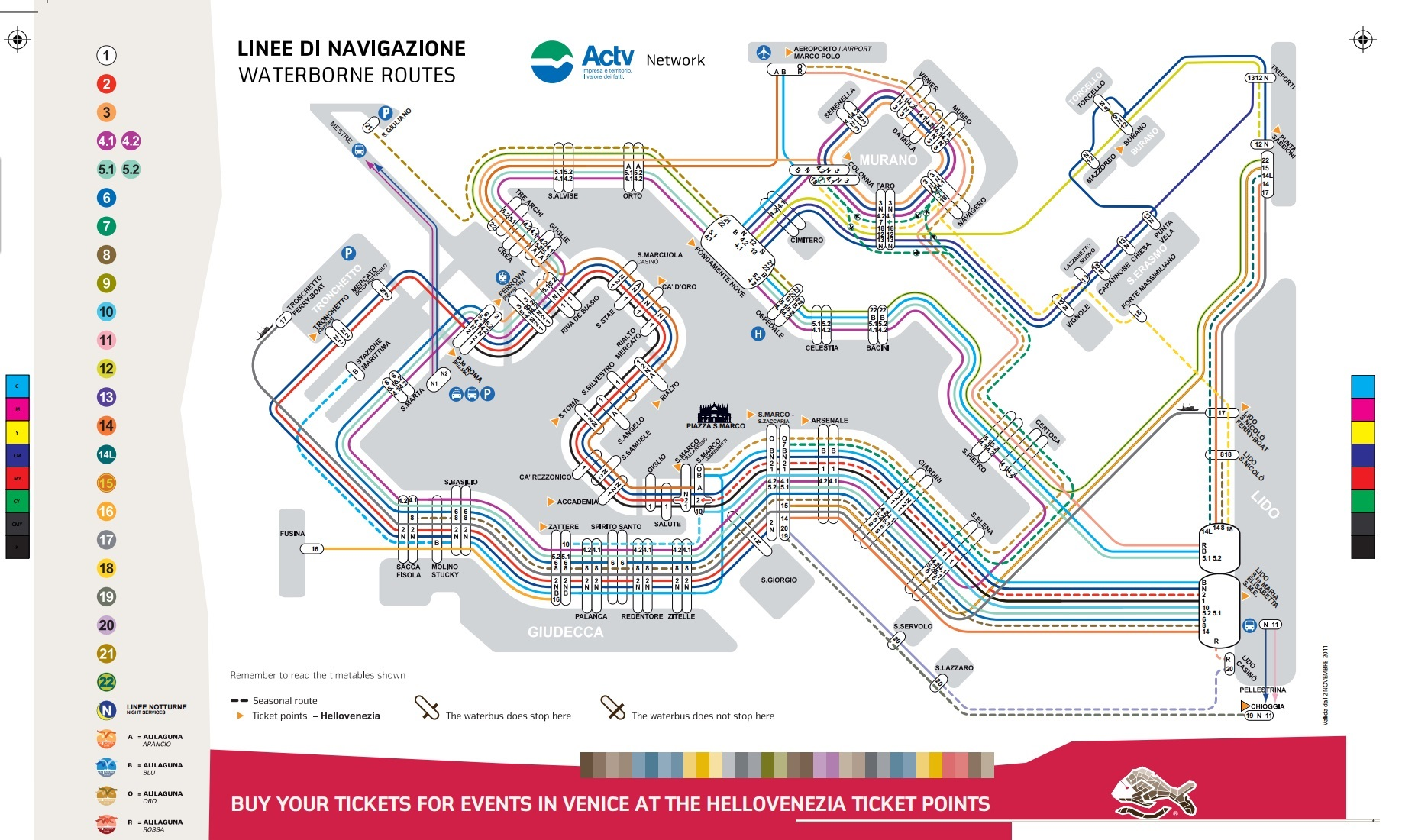 Карта маршрутов вапоретто в Венеции