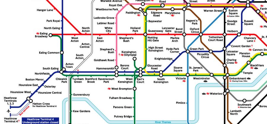 Схема метро из аэропорта Хитроу