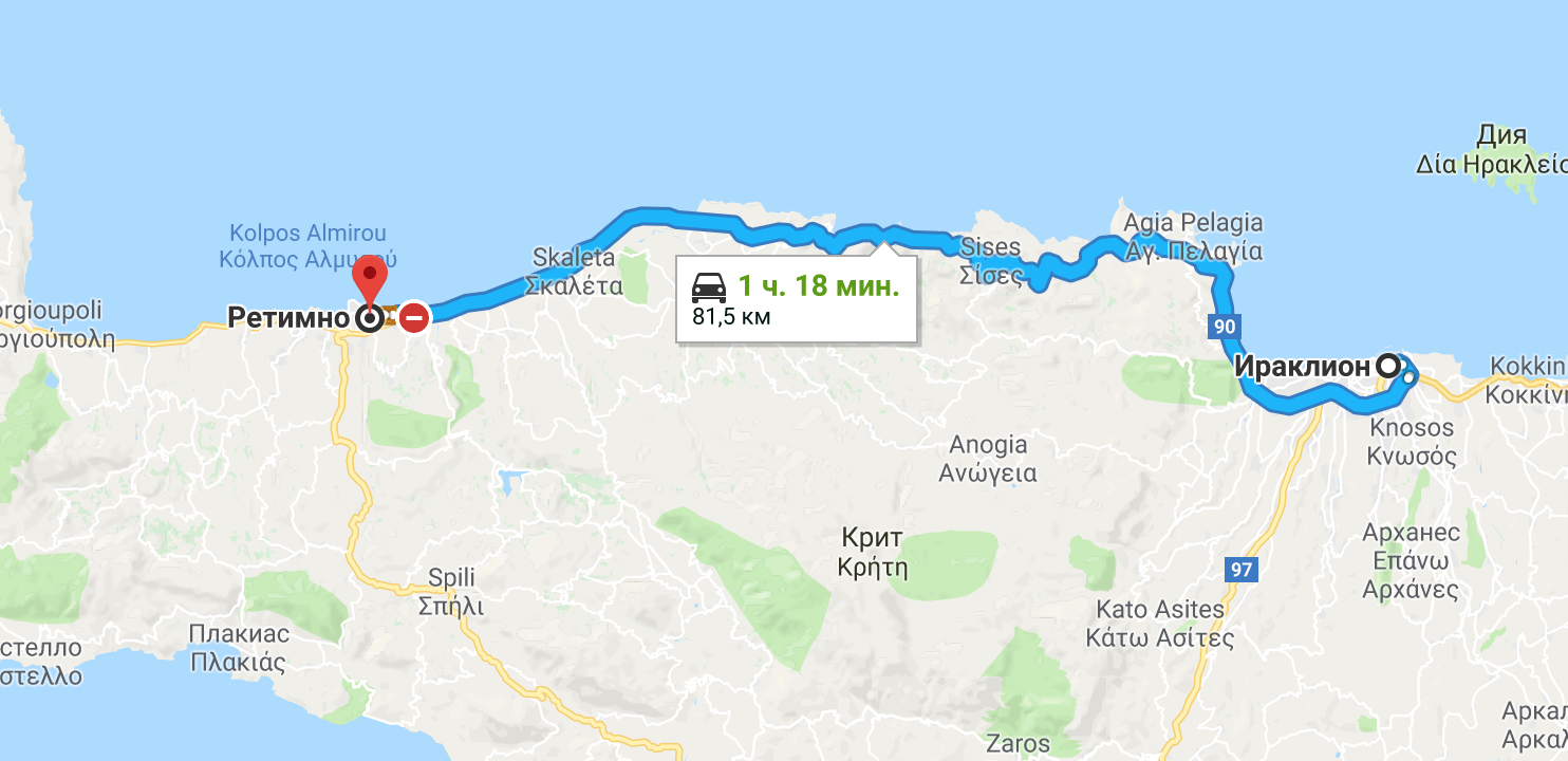 Маршрут на автомобиле из Ираклиона в Ретимно