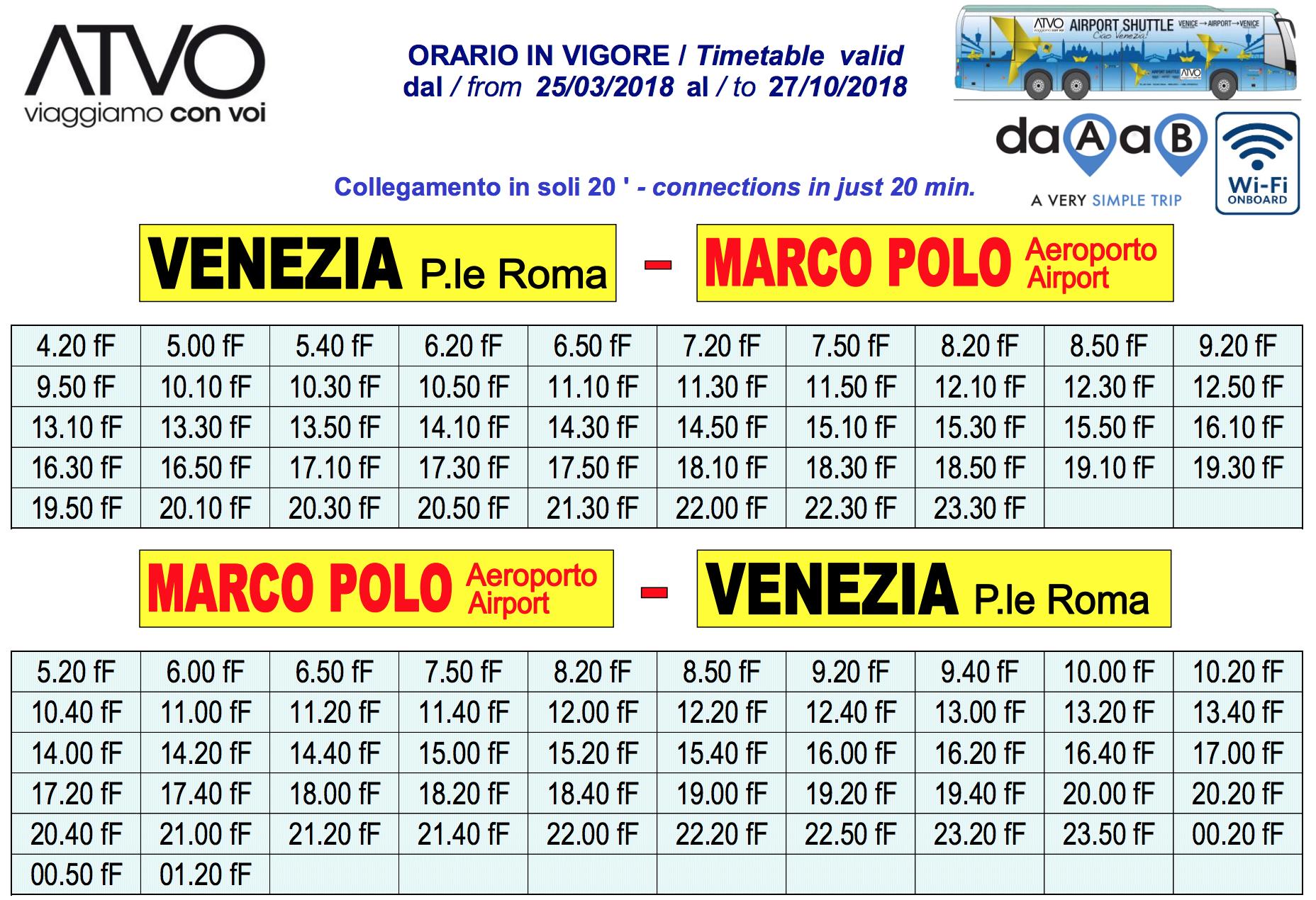 Расписание шаттлов ATVO из аэропорта Марко Поло 2018 года