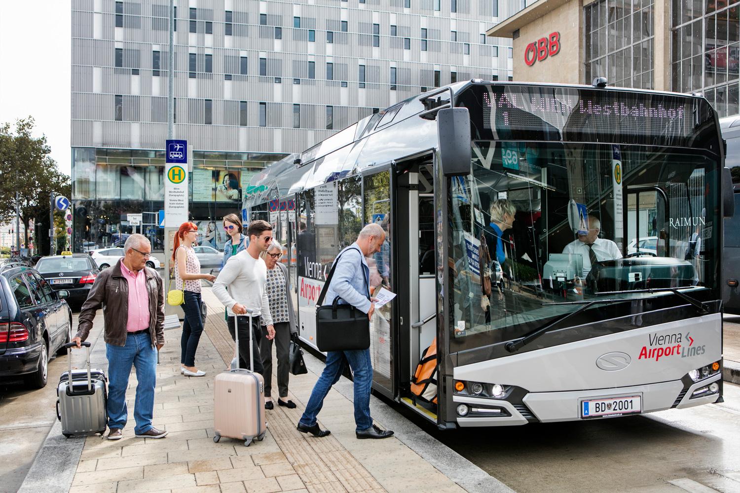 На автобусе из аэропорта Вены в город