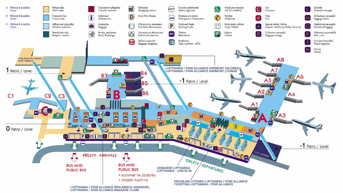 Схема аэропорта Праги