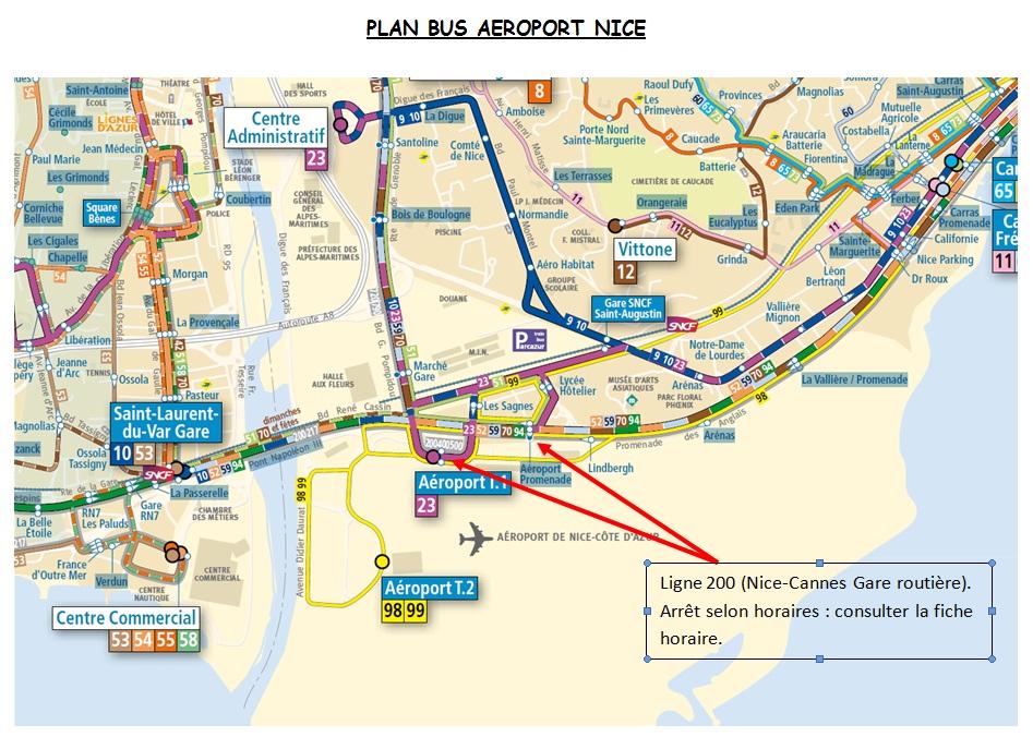 Маршрут автобусов из аэропорта Ниццы
