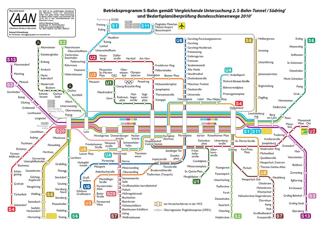 Схема поездовS-Bahn в Мюнхене