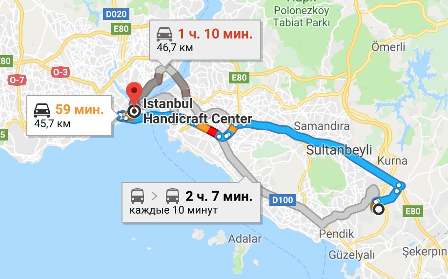 Маршрут из аэропорта Сабиха в центр Стамбула