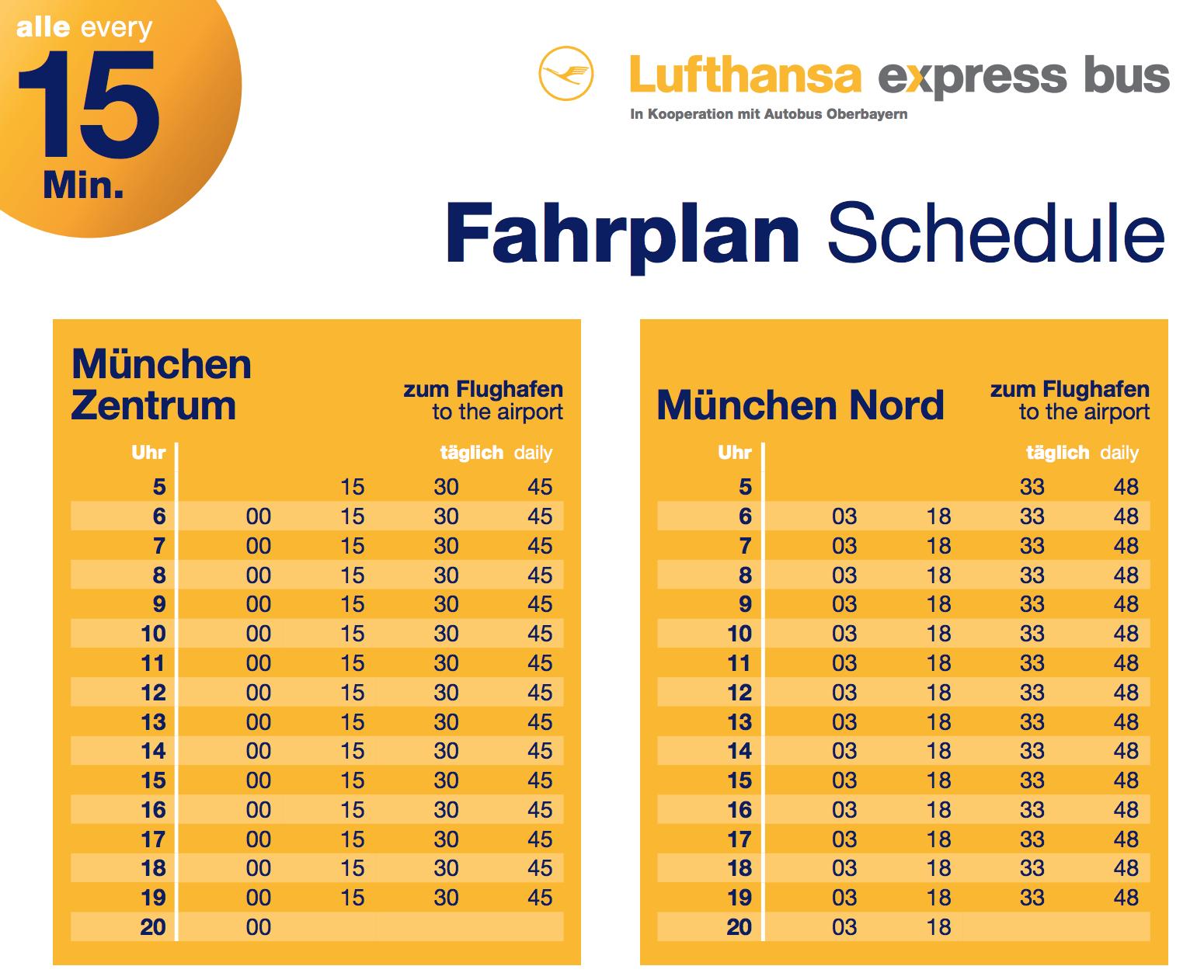 Расписание автобусаLufthansa Airport Bus из Мюнхена