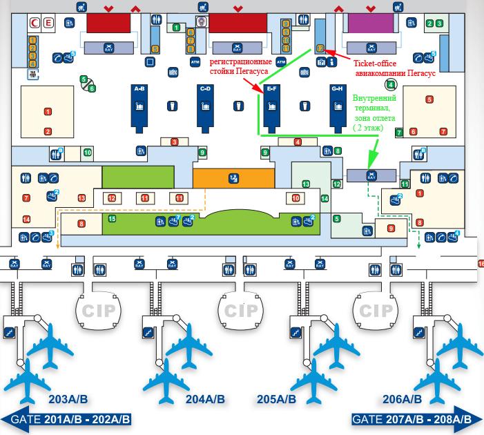 Схема аэропорта Сабиха Гекчен