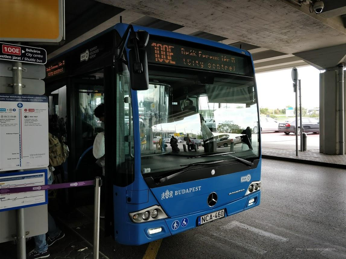 Автобус 100E из аэропорта Будапешта