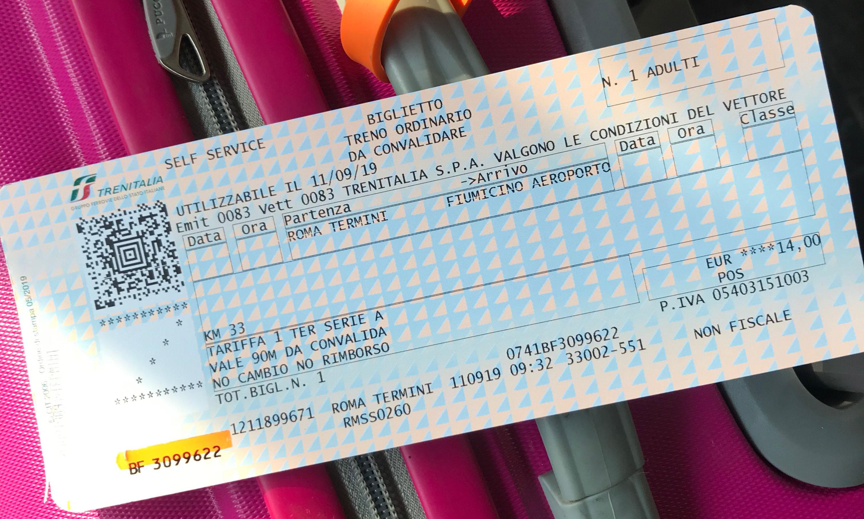 Билет из аэропорта Рима в центр города