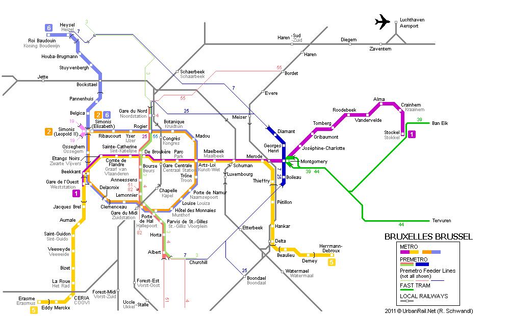 Карта метро Брюсселя