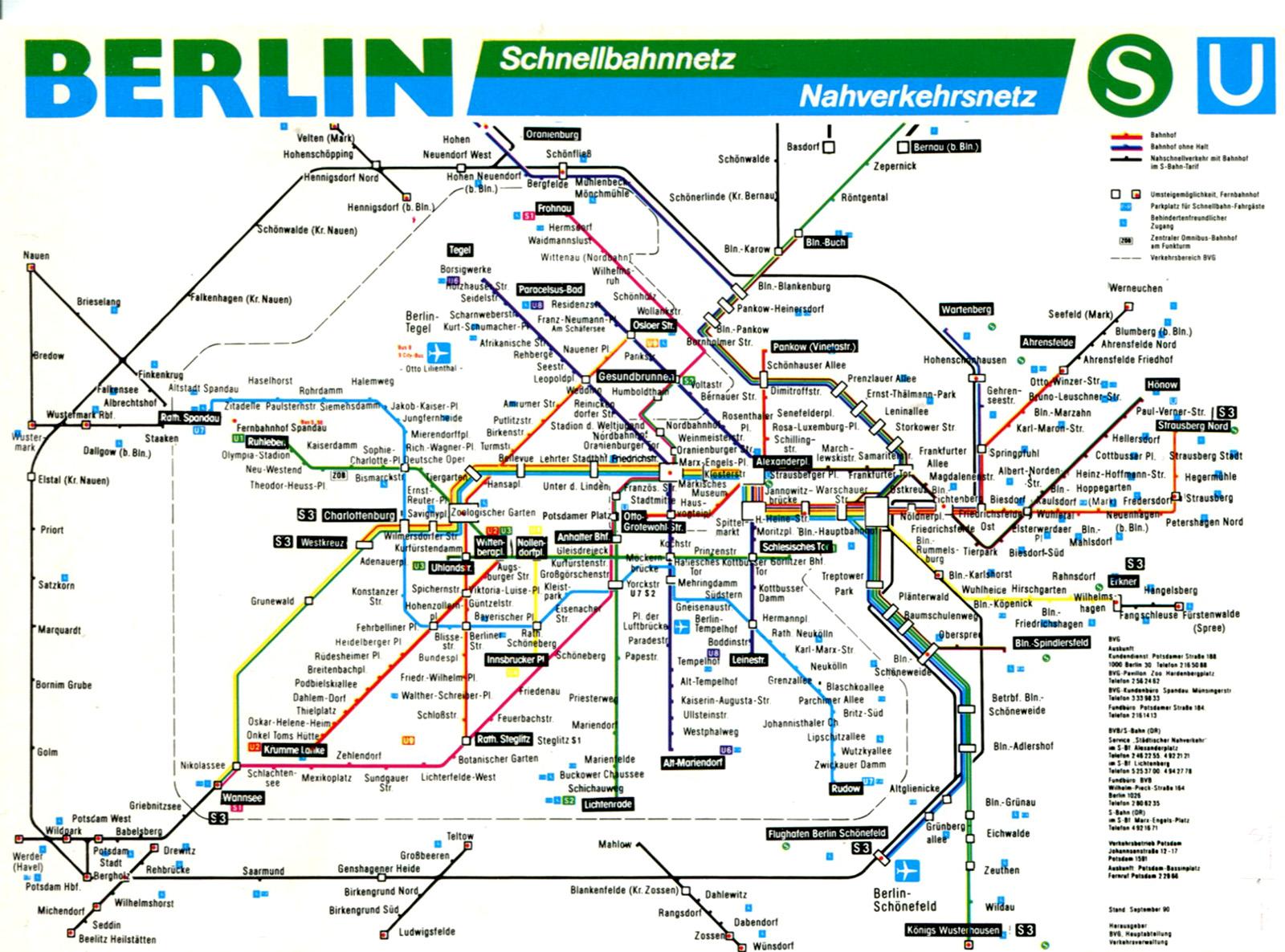 Схема электричек S-Bahn в Берлине