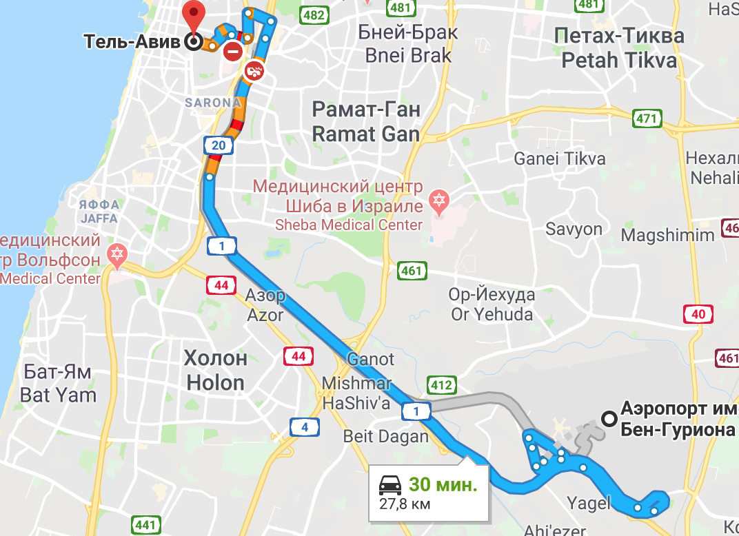 Маршрут из аэропорта Бен-Гурион в Тель-Авив