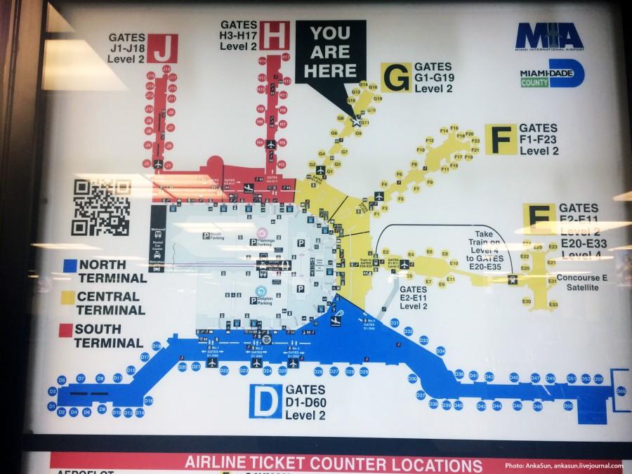 Схема аэропорта Майами
