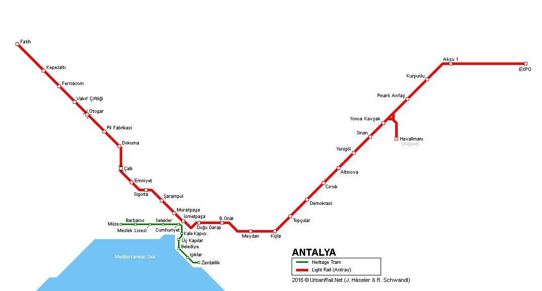 Схема метро Антальи