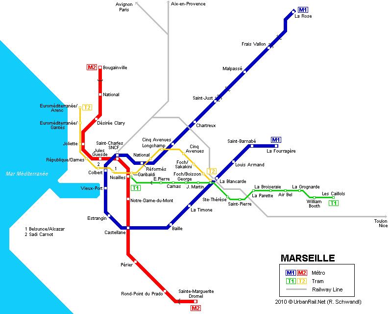 Схема метро Марселя