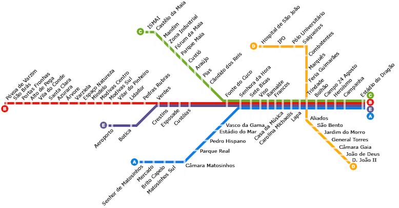 Схема метро Порту