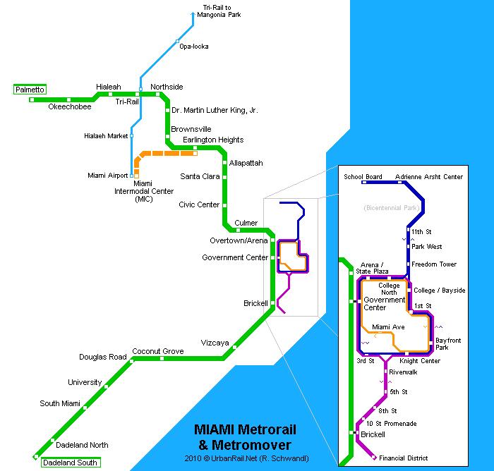 Схема метро Майами