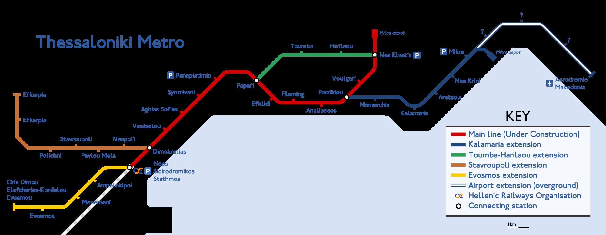 Схема метро Салоники