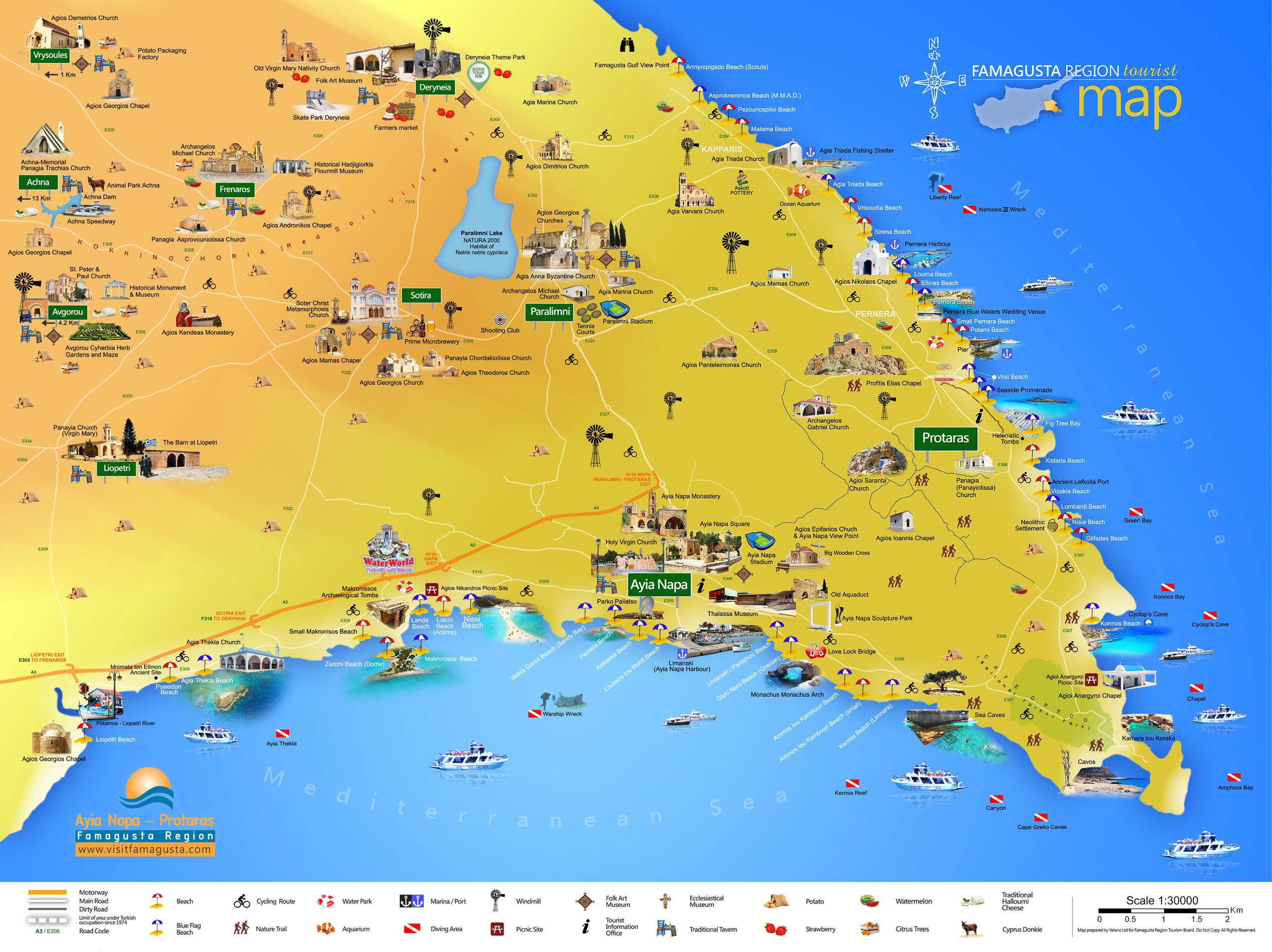 Карта Айя-Напы с достопримечательностями