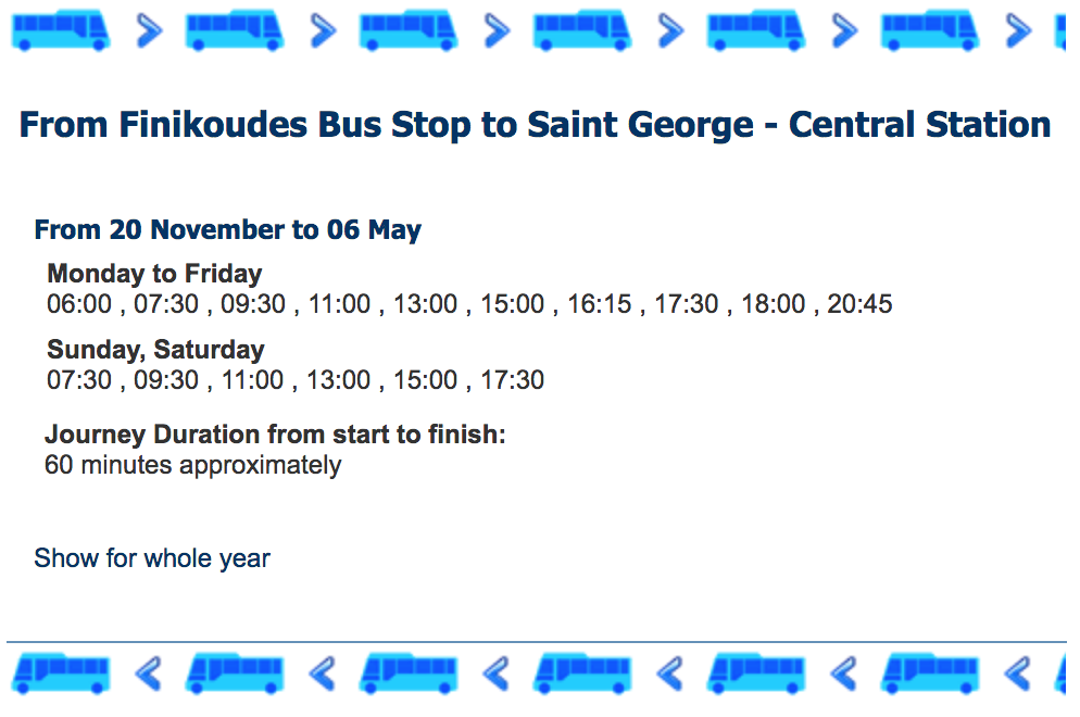 РасписаниеIntercity Buses