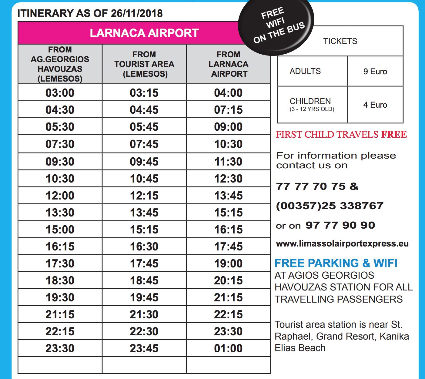 Расписание автобусаLimassol Airport Express
