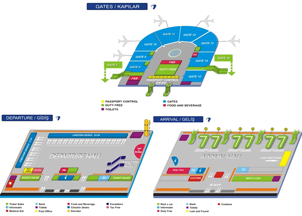 Схема аэропорта Анталии
