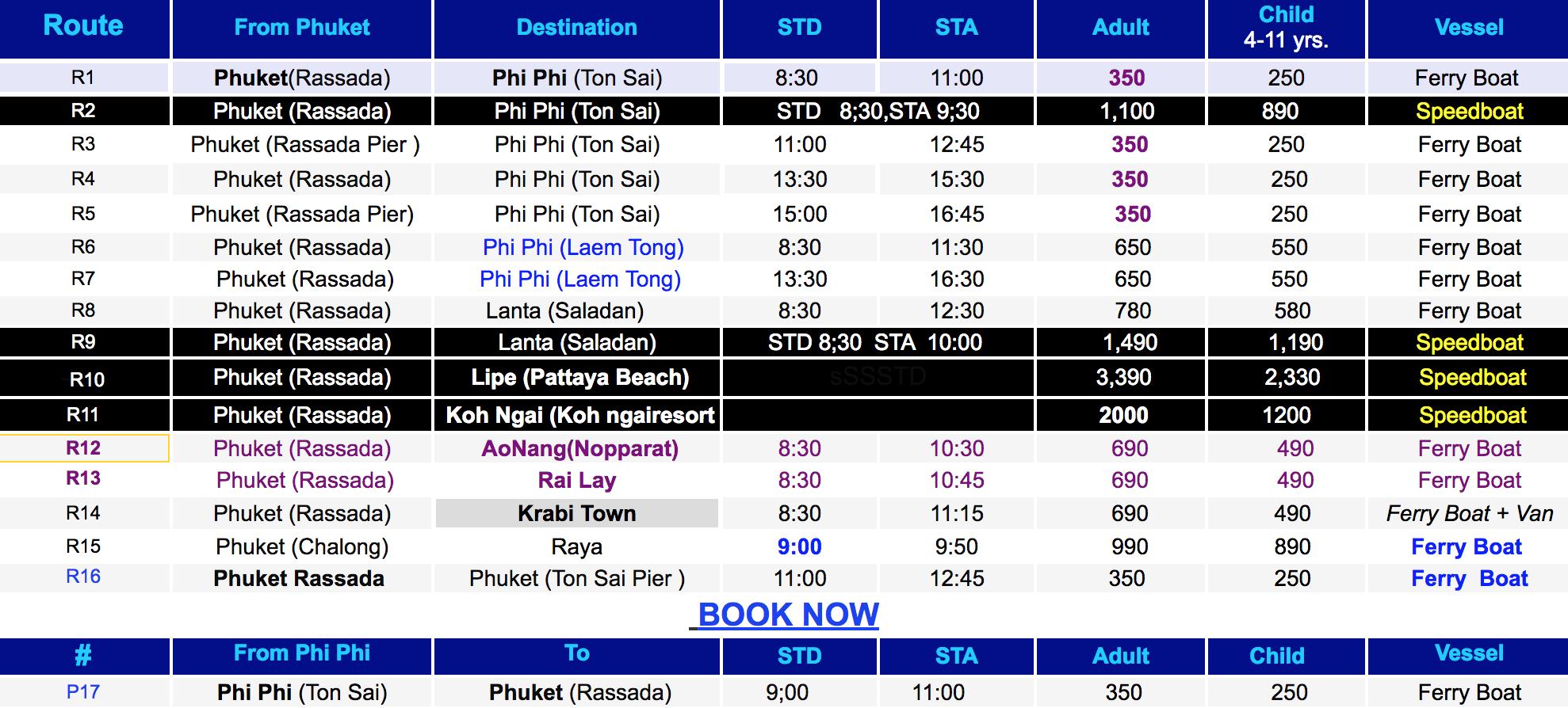 Расписание катера Пхукет-Краби