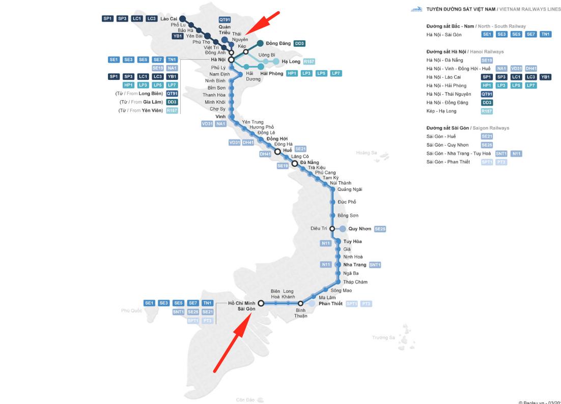 Схема поездов Хошимина