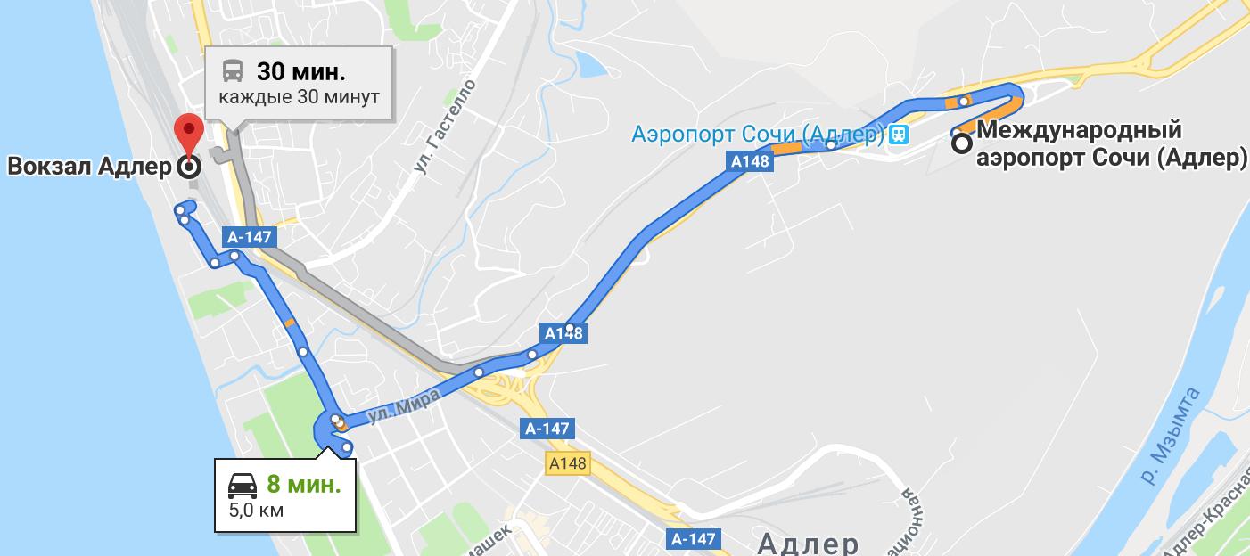 Маршрут из аэропорта Адлера до ж/д вокзала Адлер